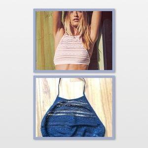 VS crochet halted bralette with high neck